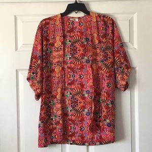 Francesca's Red Printed Kimono